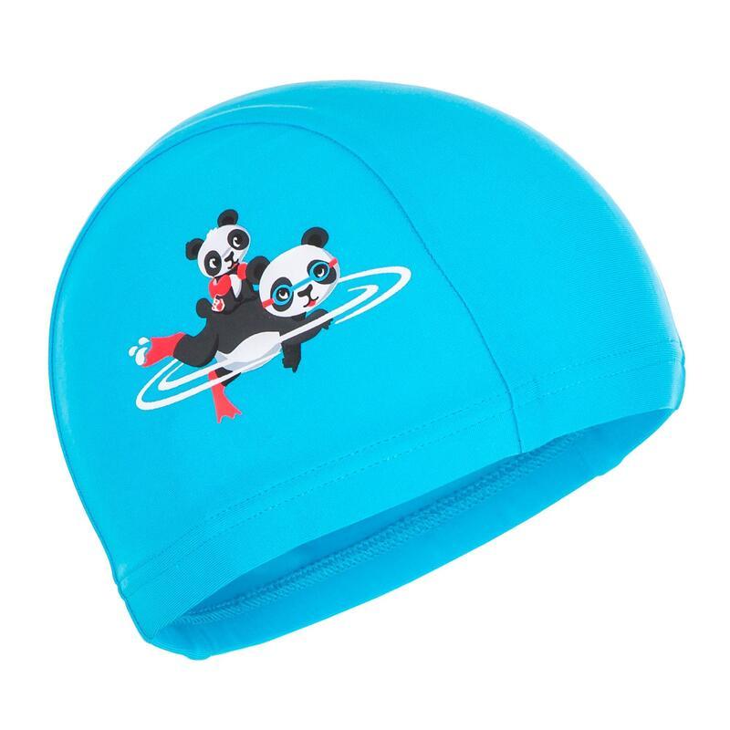 Gorro Natación Bebé Punto Azul Claro Estampado Pandas
