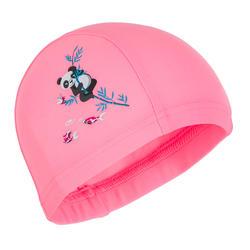 Touca de Natação Bebé estampada pandas rosa claro em malha
