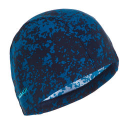 Swim cap mesh size large - printed dark blue