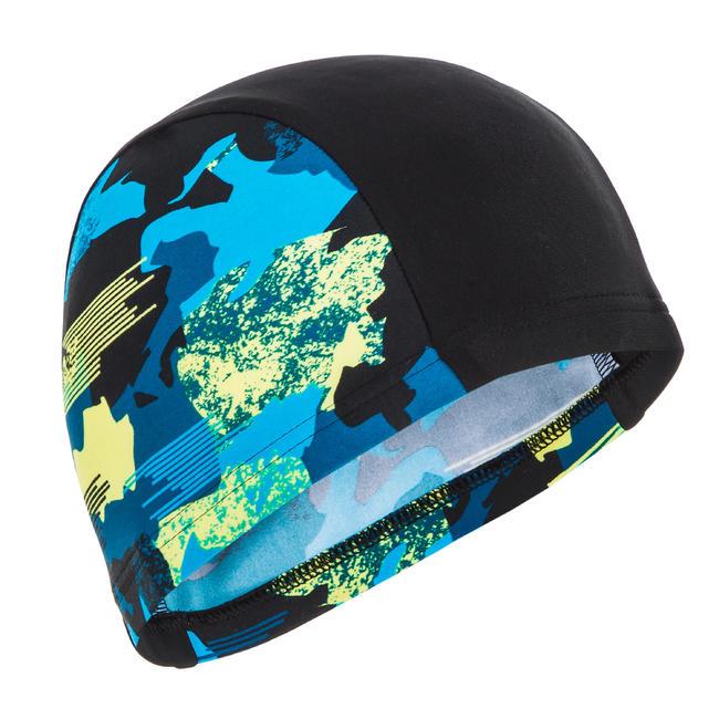 Swim cap mesh size small - Printed black blue yellow