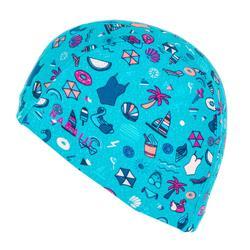 網眼印花泳帽S號淺藍色滿版圖案