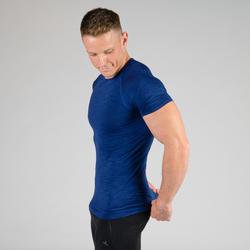 T-Shirt Kompression Krafttraining Herren blau