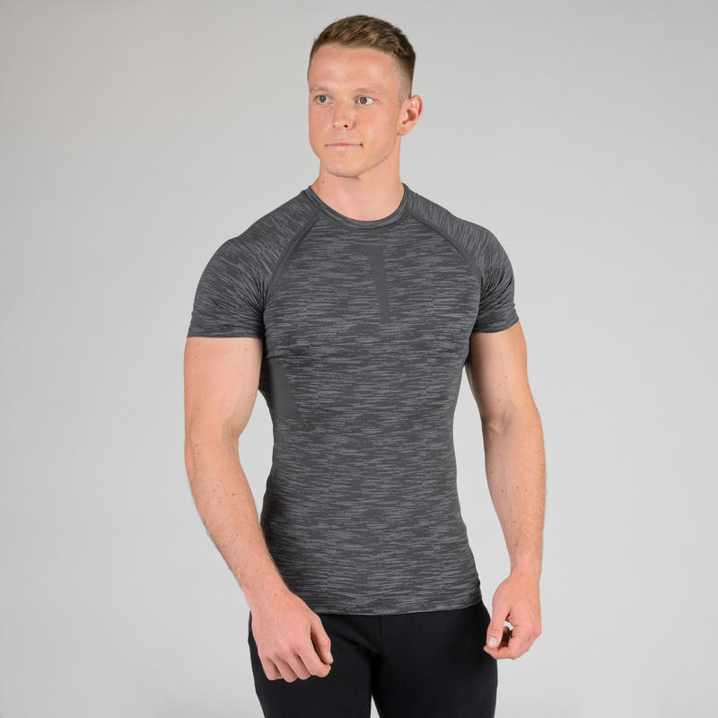 Weight Training Compression T-Shirt - Grey Marl