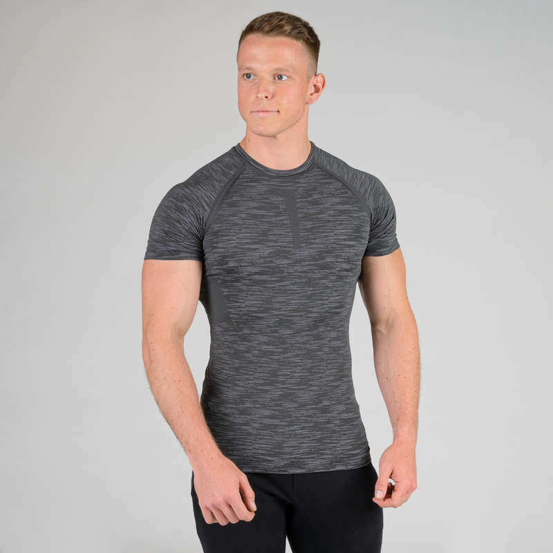 GLOVES, BELTS, APPAREL Fitness and Gym - Compression T-Shirt - Grey DOMYOS - Fitness and Gym