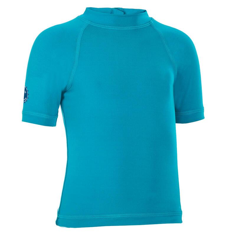 T-shirt anti UV bébé manches courtes bleu turquoise