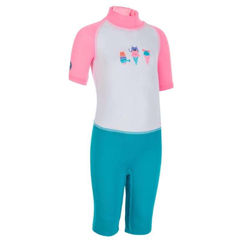 Fato de natação anti UV bebé Manga Curta Rosa Estampado