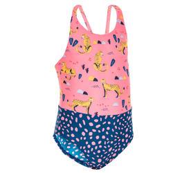 Badpak voor peuters roze en blauw met dierenprint