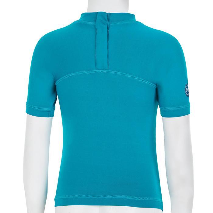 T-shirt met korte mouwen voor peuters uv-werend blauw turquoise