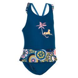 Maillot de bain 1 pièce bébé fille jupette bleu foncé imprimé animaux