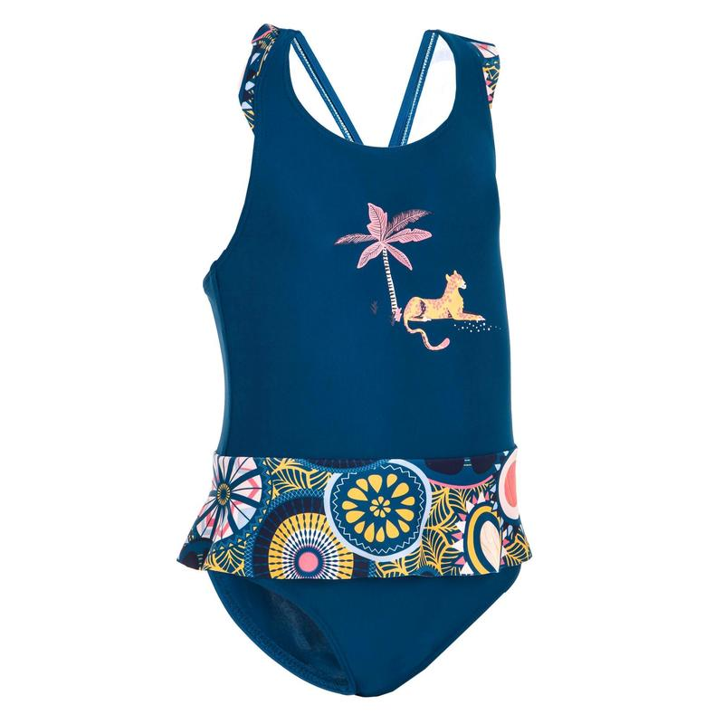Baby Girl's One-Piece Miniskirt Swimsuit - Dark Blue Animal Print