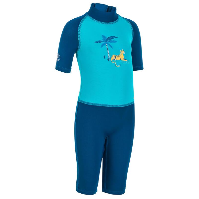 Fato de natação anti UV bebé Manga Curta Azul Estampado