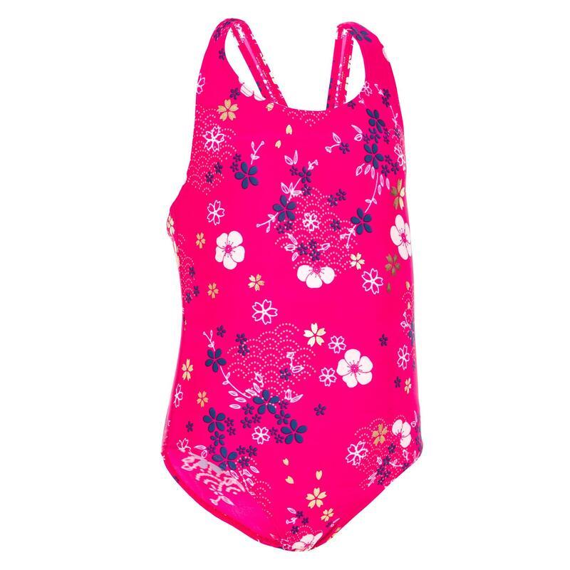 Badpak voor peuters roze met bloemenprint