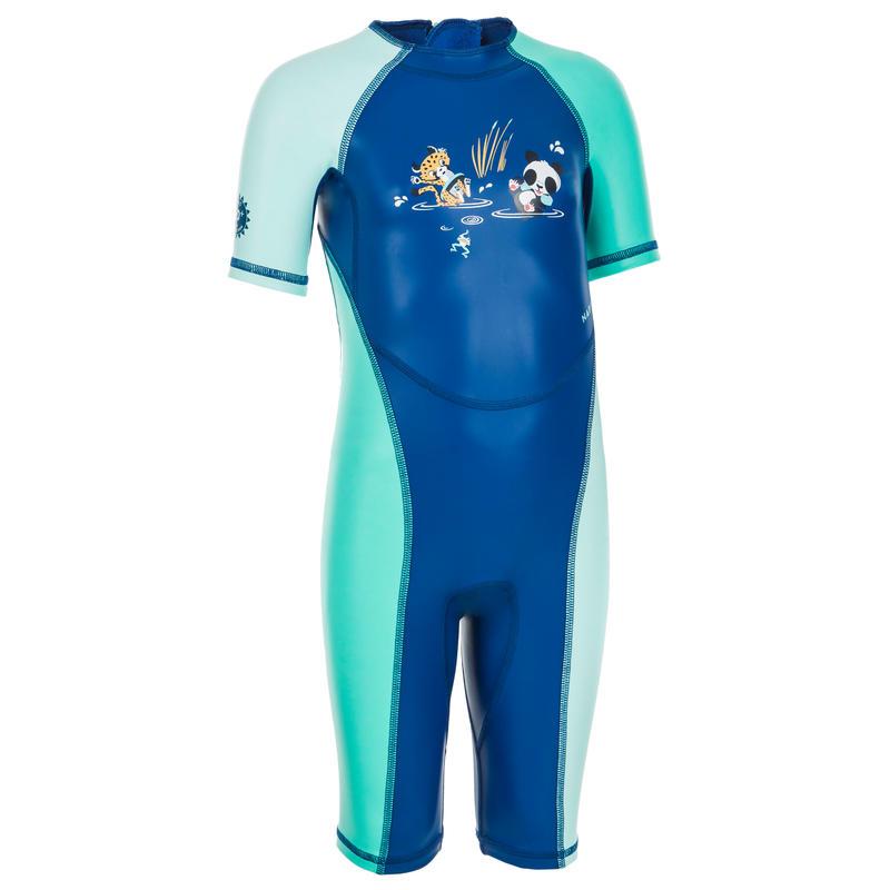 Baby UV Protection Wetsuit Kloupi - Panda Print Blue and Green