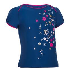 Camisola (licra proteção solar) para bebé menina azul escuro estampado flores