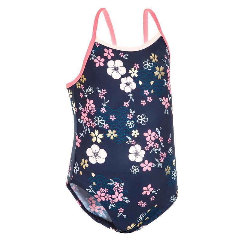 Dívčí jednodílné plavky tmavě modré s potiskem květin