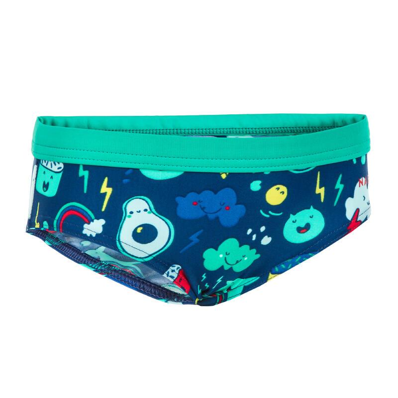 Baby / Kids' Swim Briefs - Blue and Green Print
