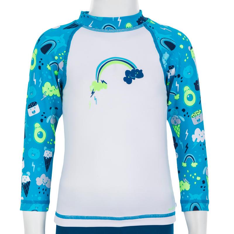 Camiseta Anti-UV Bebé Manga Larga Azul Blanco Estampado