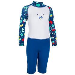 Zwempakje met lange mouwen en korte short peuters uv-werend wit en blauw print