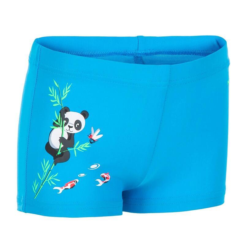 BOXER DE BAIN BEBE / ENFANT BLEU IMPRIME PANDAS