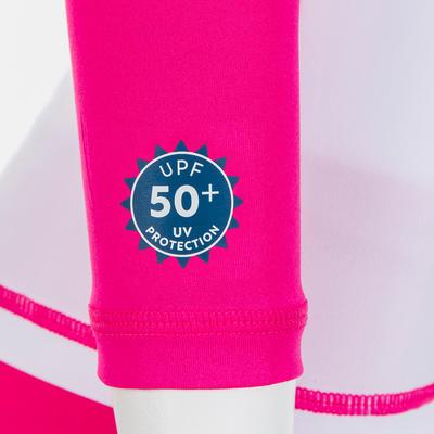חולצת טי ארוכת שרוולים להגנה מUV לתינוקות - לבן וורוד עם הדפס