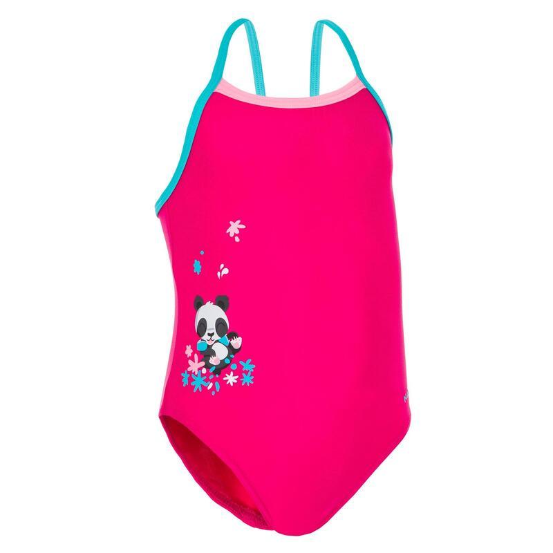 Dívčí jednodílné plavky růžové s potiskem pandy