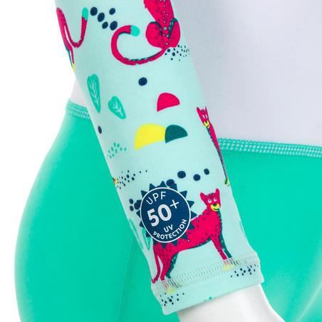 Pakaian Renang Anak Lengan Panjang Perlindungan UV - Motif Hijau dan Putih