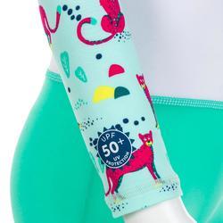 Maillot shorty anti UV enfant manches longues vert et blanc imprimé
