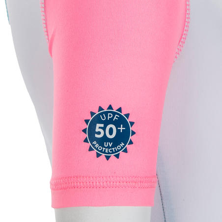 Baby UV Protection Short Sleeve Shorty Swimsuit - White Blue and Pink Print