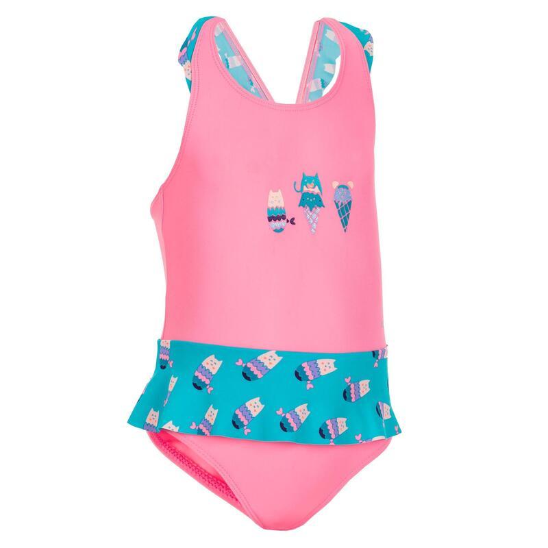 Maillot de bain 1 pièce bébé fille jupette rose et bleu imprimé