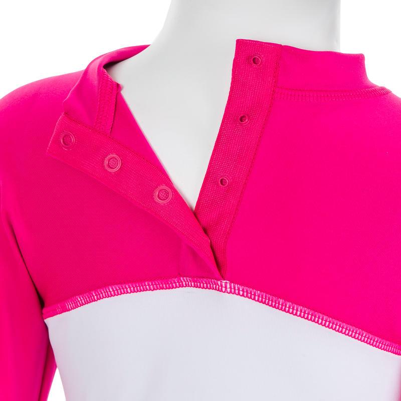 Camiseta Bebé Blanco Rosa Estampado Anti-UV Manga Larga
