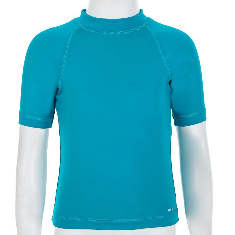 Camiseta Anti-UV Bebé Manga Corta Azul Turquesa
