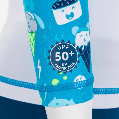 T shirt anti UV bébé manches longues blanc et bleu imprimé
