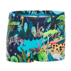 Zwemboxer voor peuters blauw met dierenprint