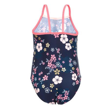 Maillot de bain bébé fille une pièce bleu foncé avec imprimé Fleurs
