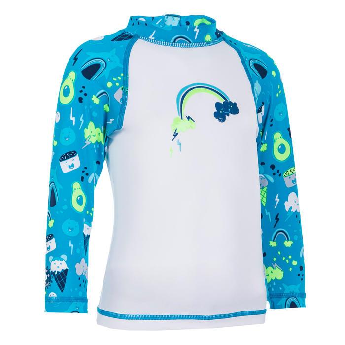 Shirt met lange mouwen voor peuters uv-werend wit en blauw met print