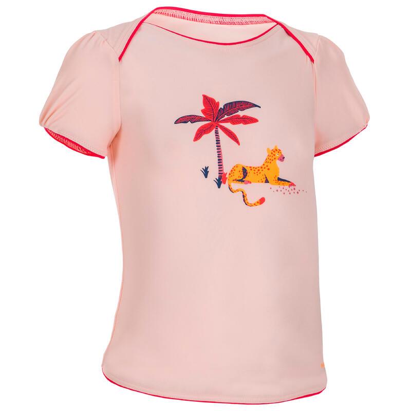 Zwemshirt voor meisjes lichtkoraal met opdruk