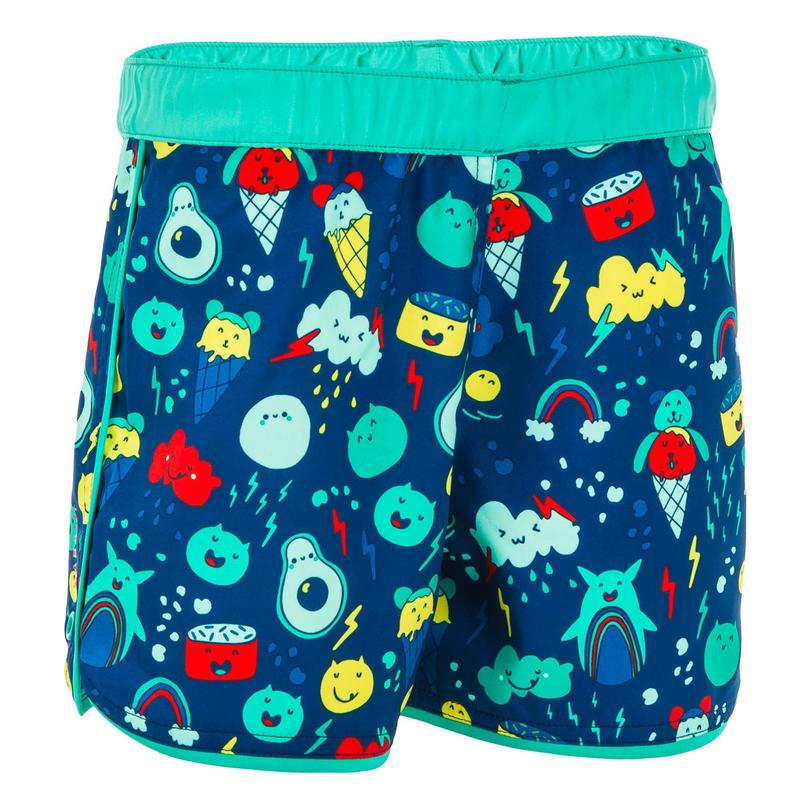 Baby Swim Shorts - Blue and Green Print