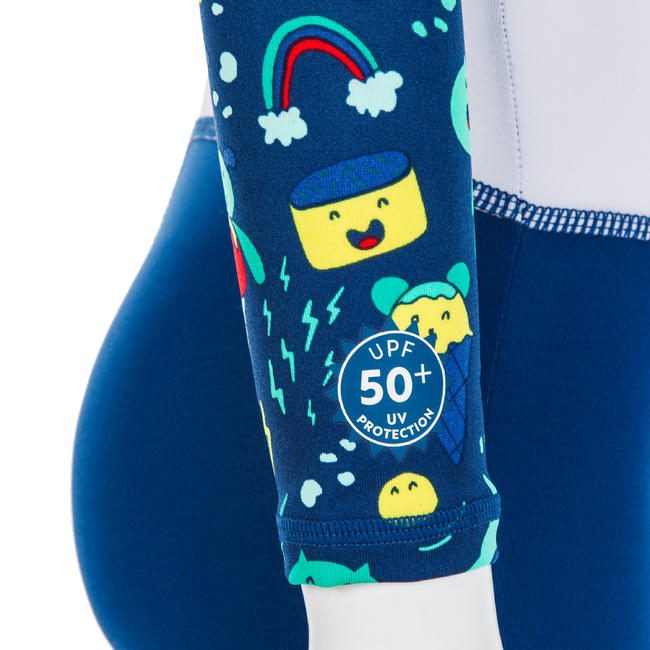 Baby Swimming UV Protection Shorty - Printed Blue