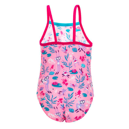 Baby Girls' One-Piece Swimsuit - Pink with Print