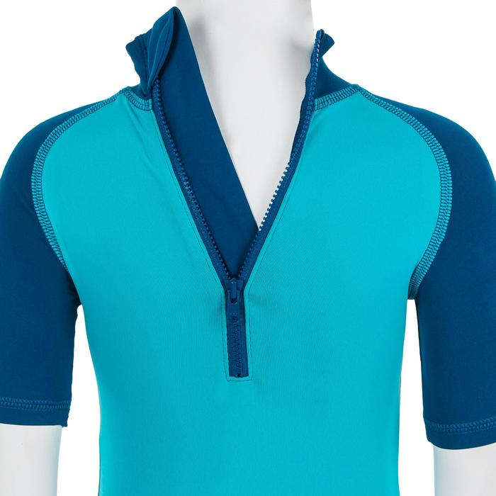 Zwempakje met korte mouwen en korte short voor peuters blauw met print
