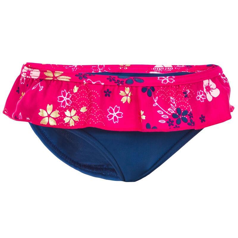 Bas de maillot de bain une pièce culotte bébé bleu imprimé fleurs