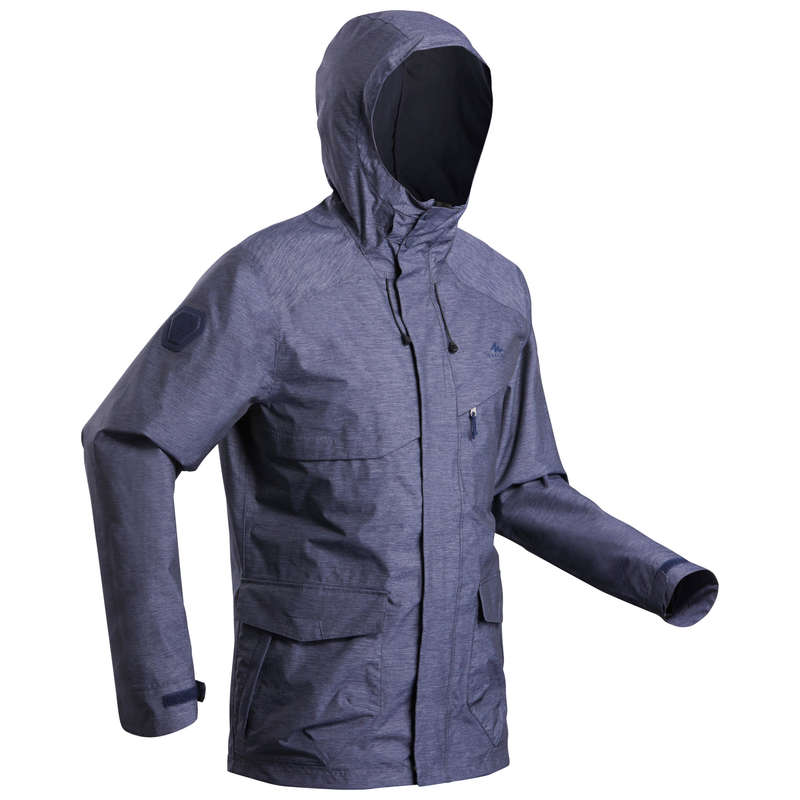 MEN NATURE HIKING JACKETS ALL WEATHER Hiking - Jacket NH550 Waterproof - Navy QUECHUA - Hiking Jackets