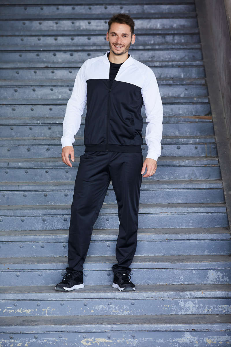 MAN FITNESS APPAREL Fitness and Gym - Fitness Tracksuit Black/White DOMYOS - Fitness and Gym
