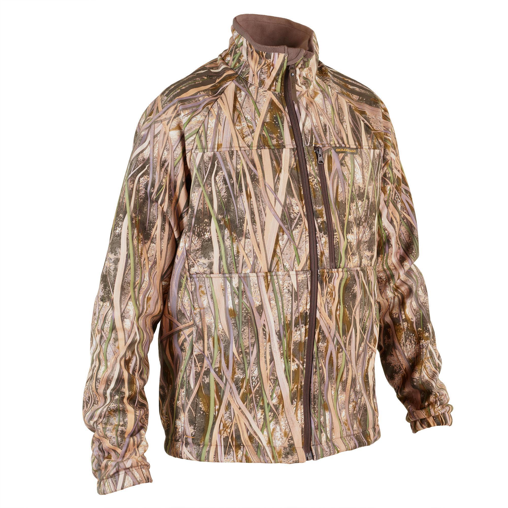 Polaire chasse chaude 500 camouflage marais solognac