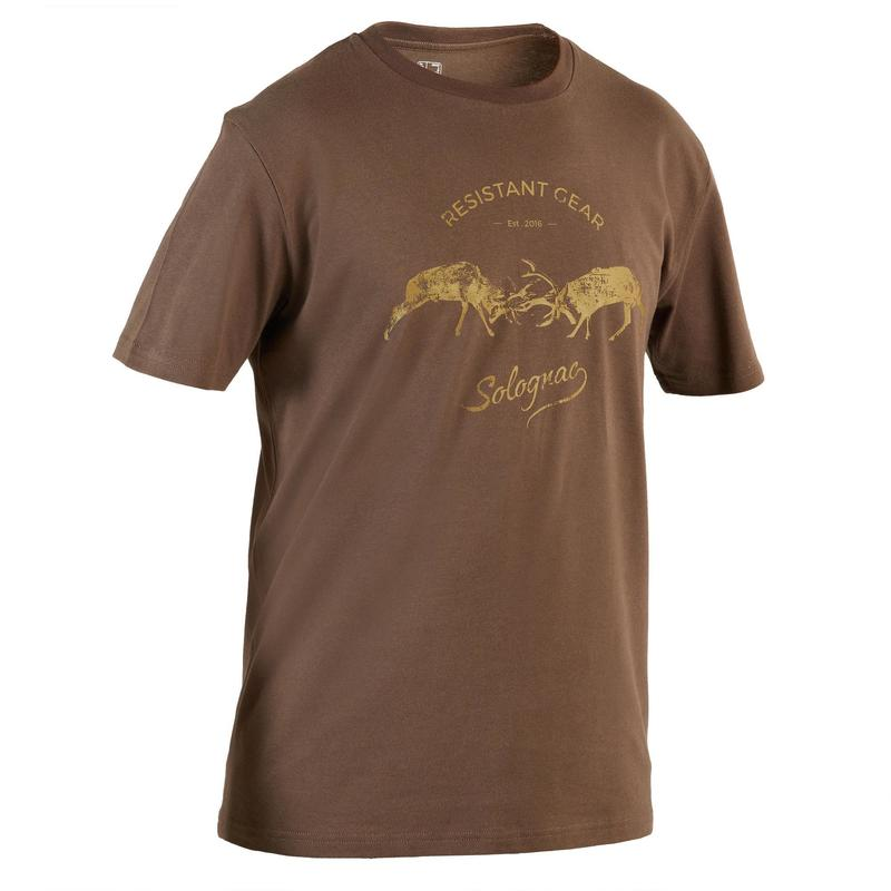 Camiseta Caza Solognac Sg 100 Hombre Manga Corta 2 Ciervos