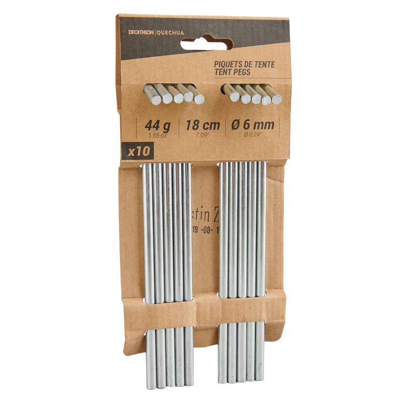HIKING CAMP TENTS ACCESS Camping - 18 cm steel camping tent pegs (x10) QUECHUA - Tent Spares and Repair