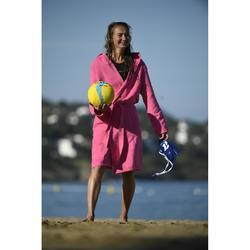 Badjas voor dames met capuchon van microvezel compact roze