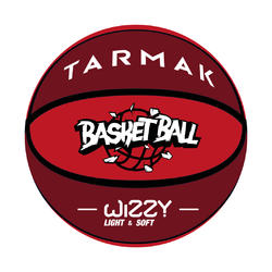 Kids' Size 5 Basketball Wizzy - Red/Burgundy