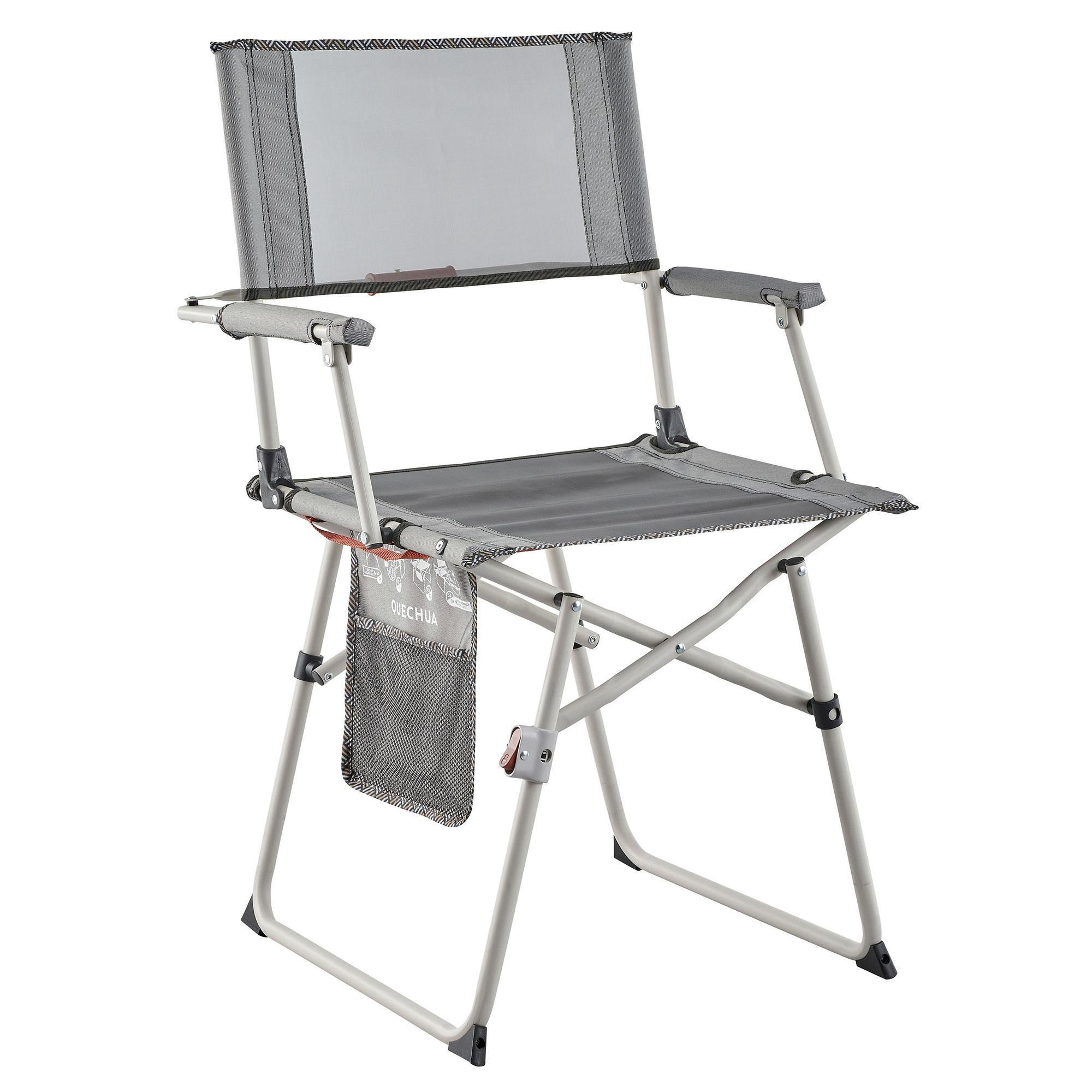 Gris Robuste Portable Voyage Camping REALISATEUR Chaise Avec Poches /& Table