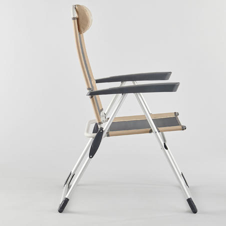 Ļoti ērts saliekamais komforta krēsls kempingam, nolaižams